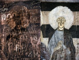 S.Andrea Priu / Details of frescoes before and after conservation